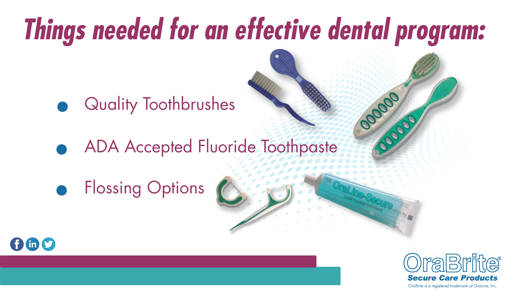 Things needed for an effective dental program